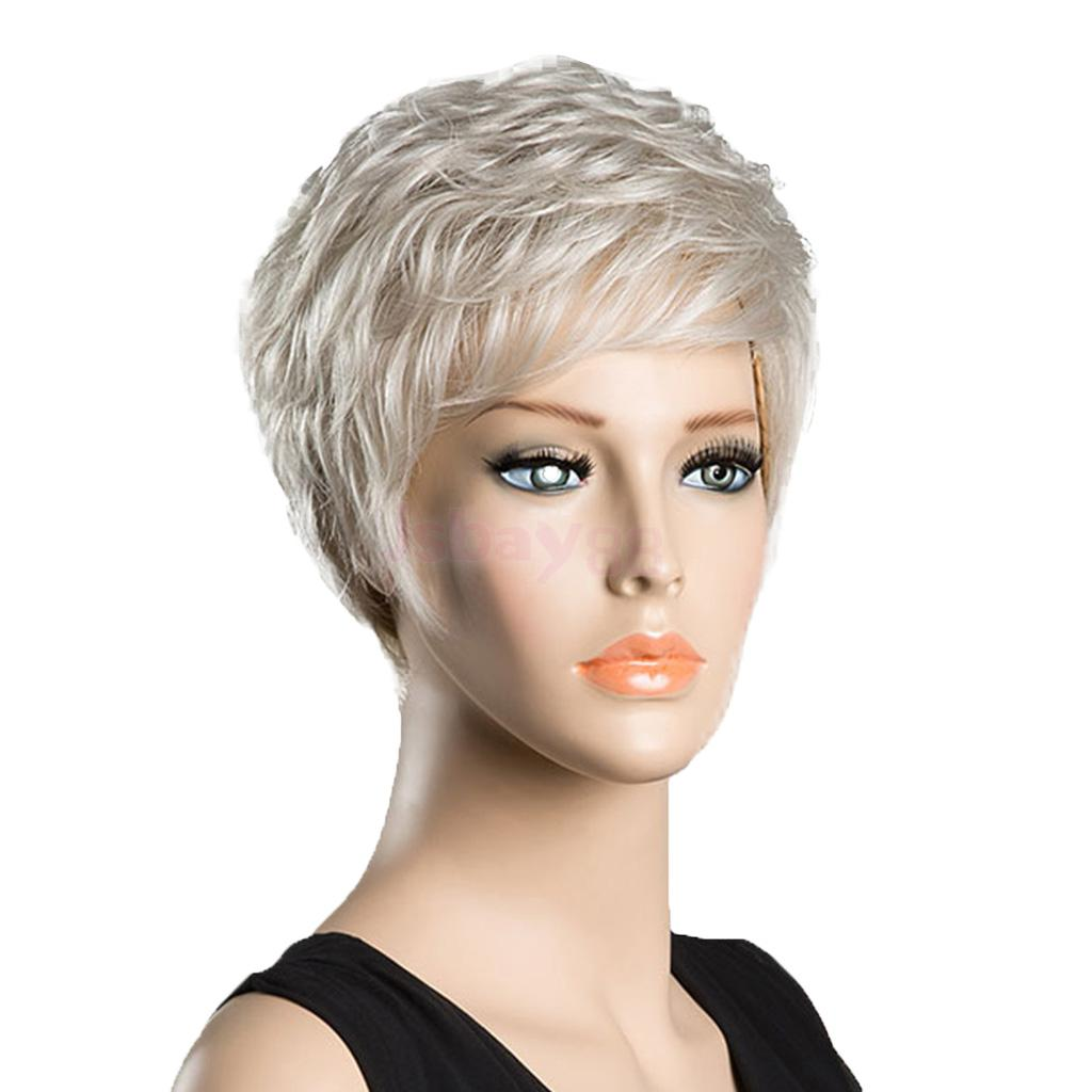 Chic Short Wigs for Elegant Women Real Human Hair & Bangs Fluffy Layered Wig Silver Gary