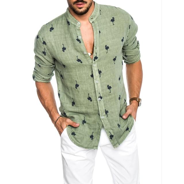 قمصان رجالي عصرية غير رسمية مطبوعة برسومات الفلامنغو الاجتماعية قطن كتان مقاس ضيق مناسب للصيف ياقة كورية هاواي كم طويل رجال أعمال