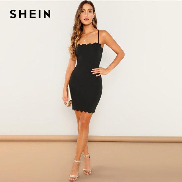SHEIN Black Form Fitting Scalloped Cami Dress Bodycon Sleeveless Slim Short Party Dress Women Autumn Highstreet Elegant Dresses 3