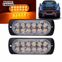 2Pcs 6 LED Strobe Light Amber White RED Blue Waterproof Car Truck Motorcycle Police Emergency Beacon
