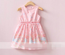 2017 Summer New Girl Dress Butterfly Flower Print Fashion Cotton Sundress Children Clothing 313563