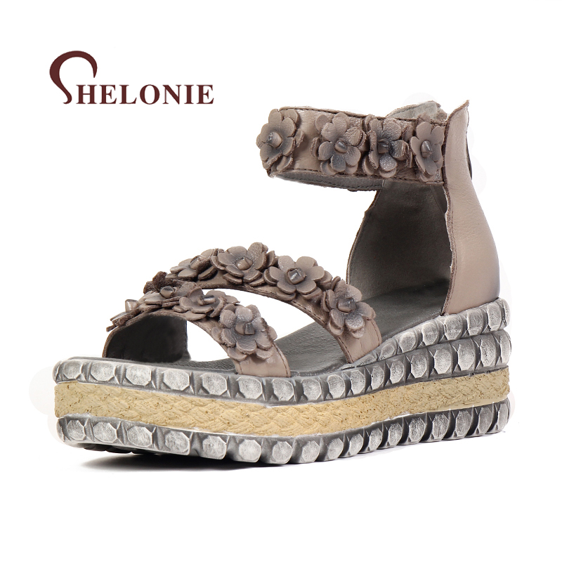 shelonie Genuine Leather Women Shoes Floral Zip Handmade Casual leather Shoes Soft Casual Women Sandals Shoes 2018 New summer shoes woman handmade genuine leather soft sandals casual comfortable women shoes 2017 new fashion women sandals