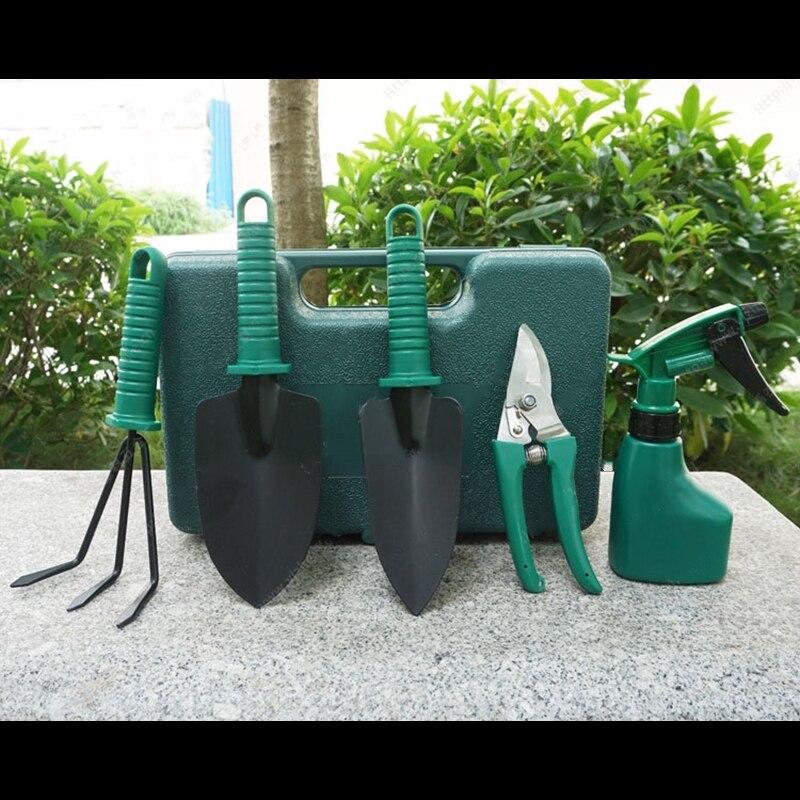 5 unids jardín herramienta de mano pala rastrillo Clippers hogar Multifunctiona Kit plantación del jardín herramienta de mano el paquete con el plástico caso