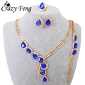 Luxury Gold Plated CZ  Jewelry Water Drop Shaped Bridal Jewelry Sets Statement Necklace Earrings Bracelet Ring Sets