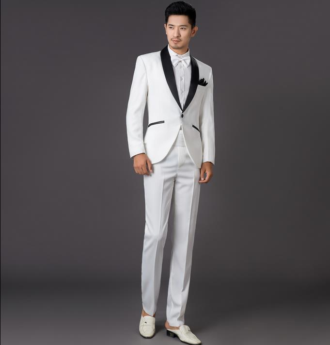 White mens suit wedding dress 2018 new arrival men slim fit suits ...
