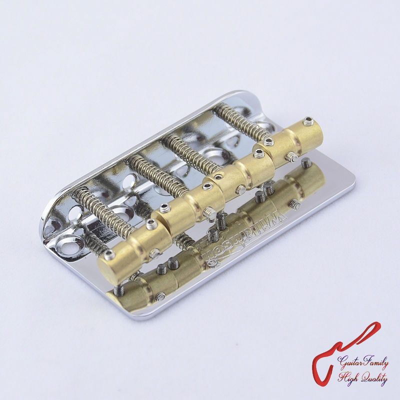 1 Set Chrome  Wilkinson WBBC Four 4 Strings Electric Bass Bridge With Brass Saddles For Precision Jazz ( #1139 ) MADE IN KOREA a set chrome vintage shape saddle bridge for 5 string electric bass guitar top load or strings through body