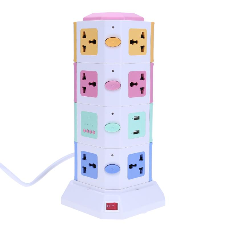 Smart WIFI Vertical Socket Plug Board Outlet Universal Travel Adapter + 2 USB Hub Ports App Control Universal Socket Outlet wd 010 5pcs south africa plug to universal socket adapter