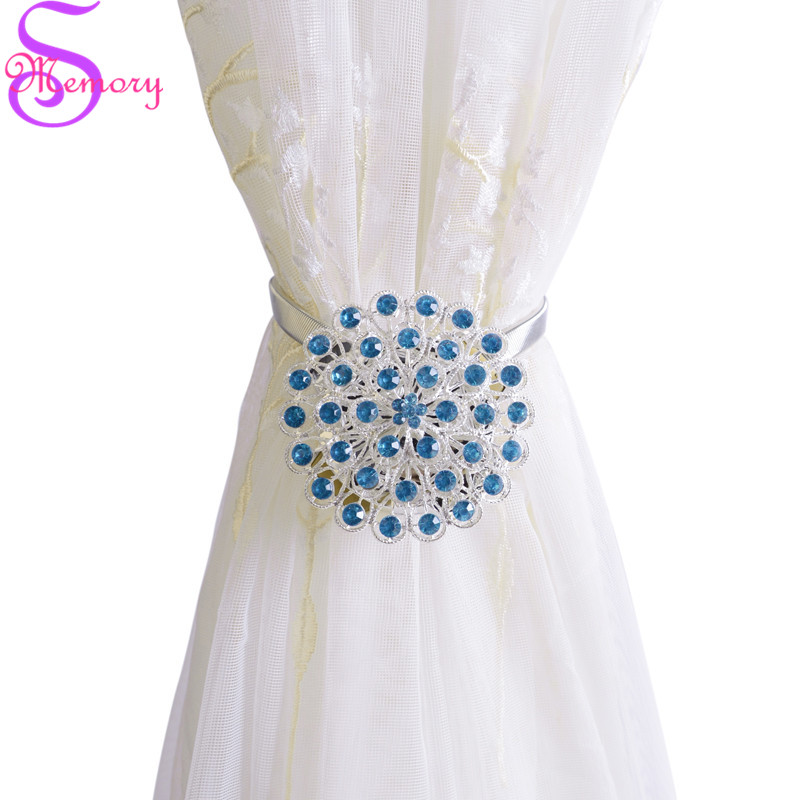 Magnetic Rhinestone Curtain Buckle Tie Back Straps Holders