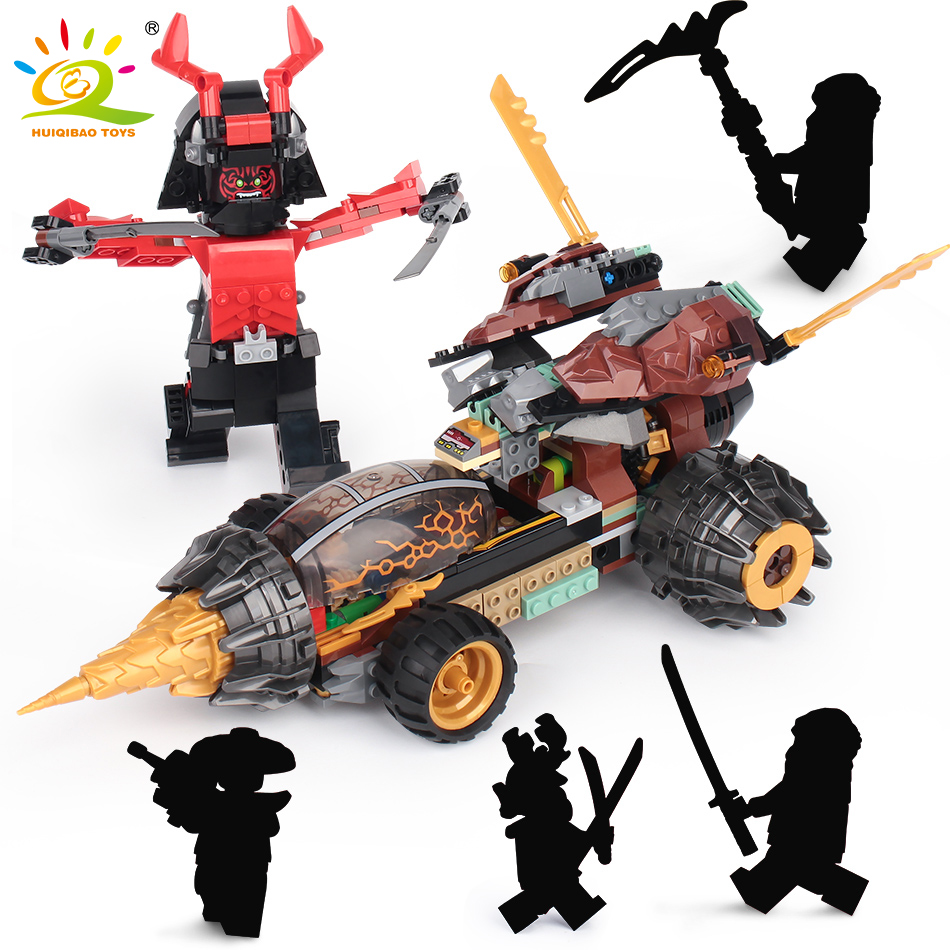 610 PCS Gigante Ninjagoes Earth Moving Chariot Blocos de Construção Compatível Legoingly Ninjagoed Guerreiro Carro Tijolos Brinquedos Para Crianças