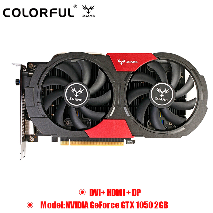 Original Colorful NVIDIA GeForce GTX 1050 2GB DDR5 Graphics Card 7000MHZ 14nm HDMI 128bit Dual Fans DVI+HDMI+DP Cooling Fans