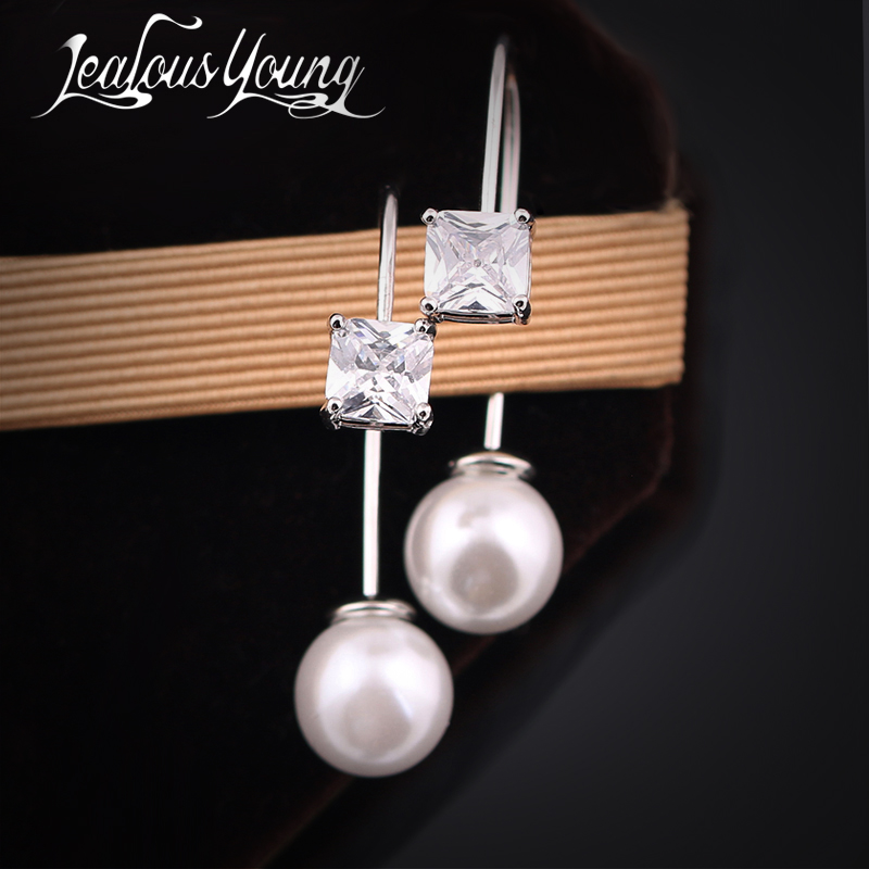 Fashion Woman Jewelry Newly Issued CZ Pave Simulated Pearl Cute Girls' Drop Earrings Unique Design Brand Earrings Jewelry AE203