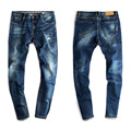 Mens Cotton Dark Blue Jeans Men's Slim Fit Ripped Jeans Pants Men Stretch British Style Clothing Wholesale 079