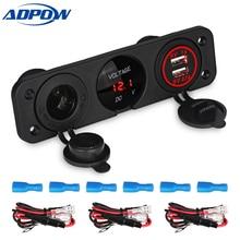 ADPOW 3.1A Dual USB Power Adapter Car Charger 12V LED Digital Voltmeter Auto Cigarette Lighter Splitter Socket