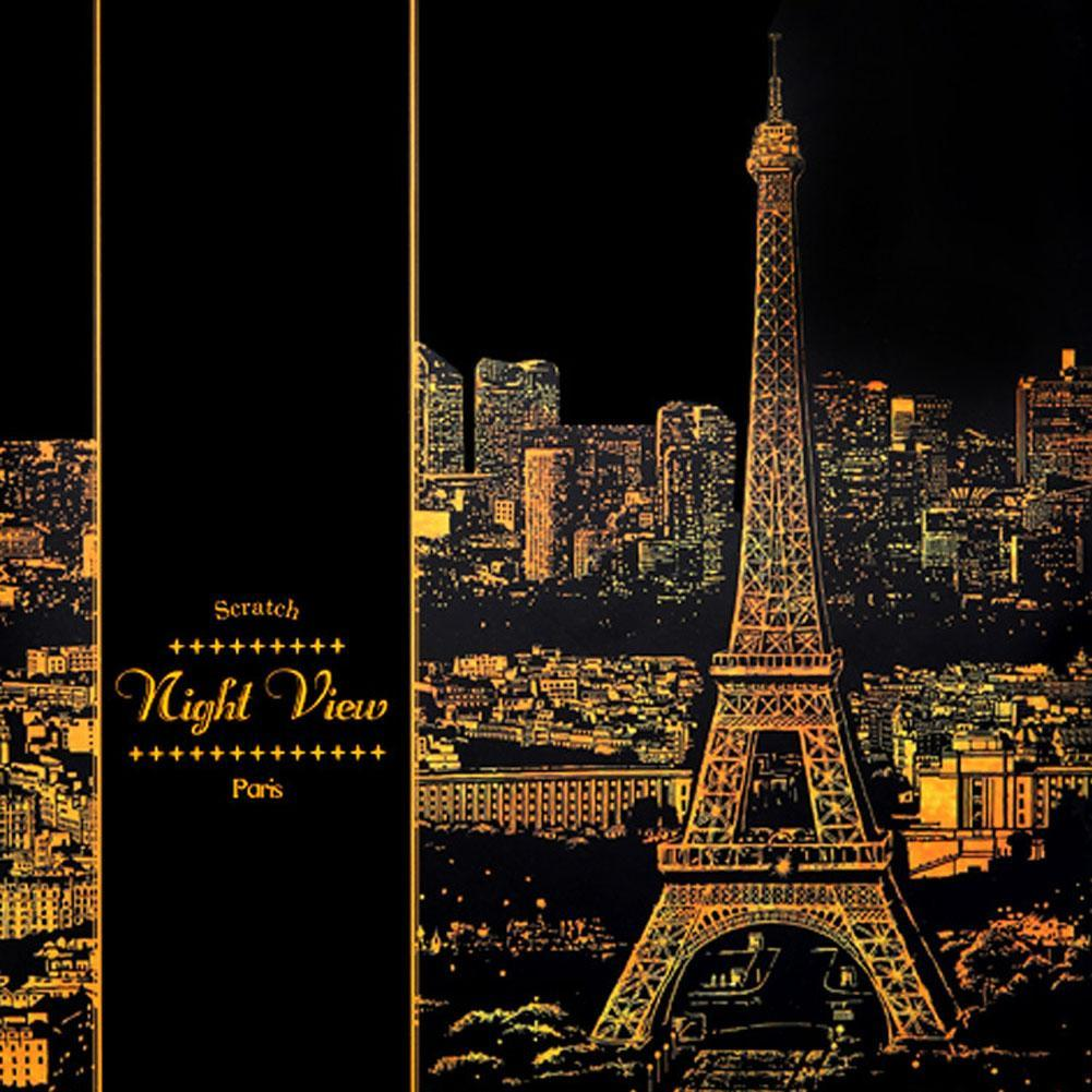Famous City Paris Drawing Scratch Painting Paper Beautiful Paris The Eiffel Tower Night View With Gold Scratch Pen New Promotion Scratch Painting Papers Scratch Paintingscratch Drawing Aliexpress