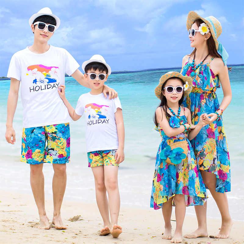 9d3f413c6 Ropa familia playa madre padre e hijos niños vestidos niñas iguales familiares  vestidos mujer mama e