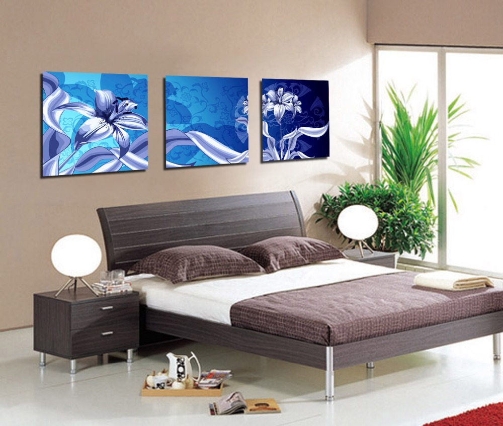 """3 Piece """"Blue Flowers"""" Painting Pictures Giclee Canvas ..."""