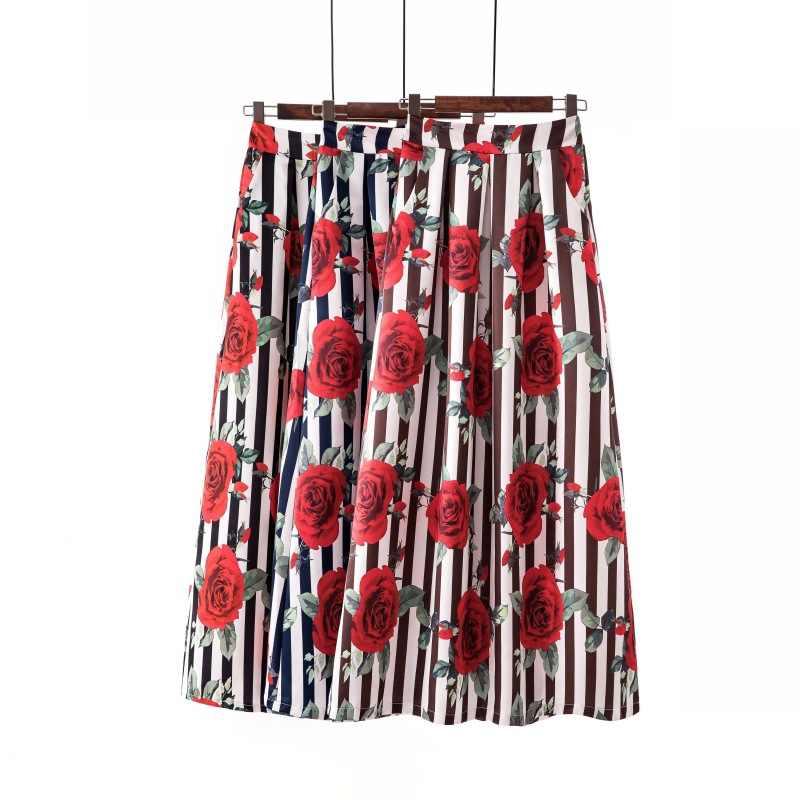Surmiitro długi Maxi Plus rozmiar spódnica kobiety 2019 wiosna lato w stylu Vintage Indie Folk drukuj-line duża duża wysokiej spódniczka z wysokim stanem kobiet