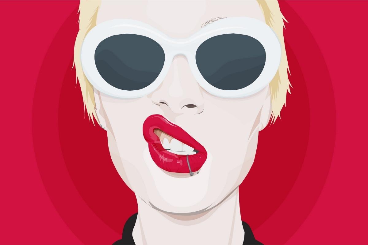 Женщина с солнцезащитные очки вектор PDM832 Wall Art Холст ткань плакат пользовательские печати номер Декор украшения дома (рамка)