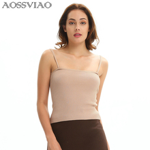 AOSSVIAO 2019 New Hot Sale Fashion Women Knitwear Sleeveless Tops Shirt Blouse Casual Crop T-Shirts White Black Bhaki Beige