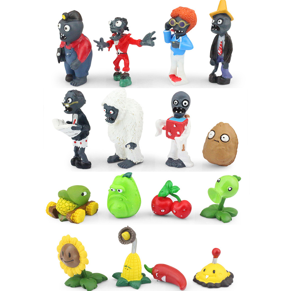 16pcs set Plants VS Zombies PVZ Collection Figures font b Toy b font plant and zombies