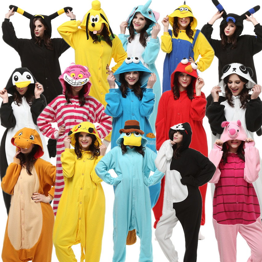 بزرگسالان Kigurumi هالووین لباسهای کارناوال Onesie Kigu Pokemon Charmander Umbreon Cheshire Cookie Monster Elmo Monokuma Minion