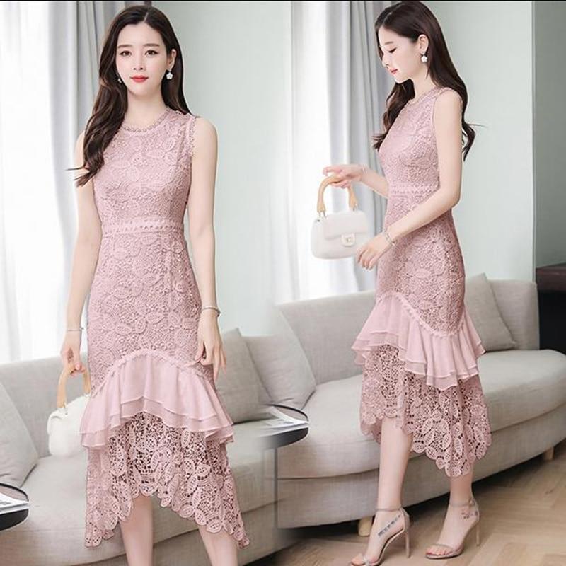 Lace white pink dress female 2019 summer new retro temperament long vestidos M 2XL high quality elegant self cultivation dress