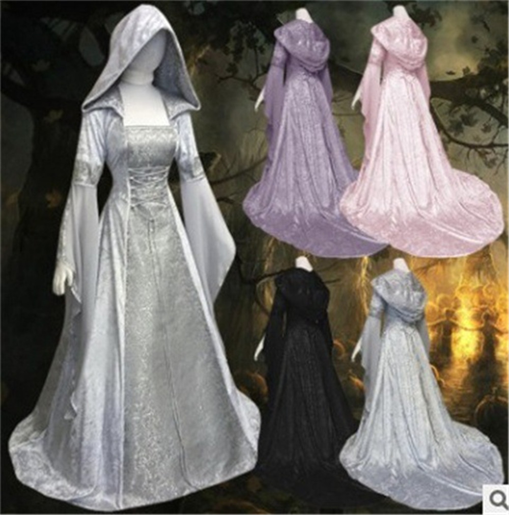 Medieval Fantasy Fairy Witch  Dress Lace 4 Coloures Wicca