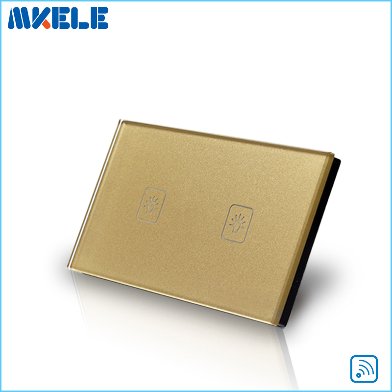 Free Shipping Wall Light 2 Gang 1 Way Remote Control Touch Switch US Standard Gold Crystal Glass Panel With LED wall light touch switch 2 gang 2 way wireless remote control touch switch power for light crystal glass panel wall switch