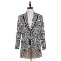 Новый Hi Lo партии Blazer Для мужчин S Щепка серый цветочный узор Тонкий Встроенная Пром Пиджаки для женщин Для мужчин одна кнопка костюм куртка с