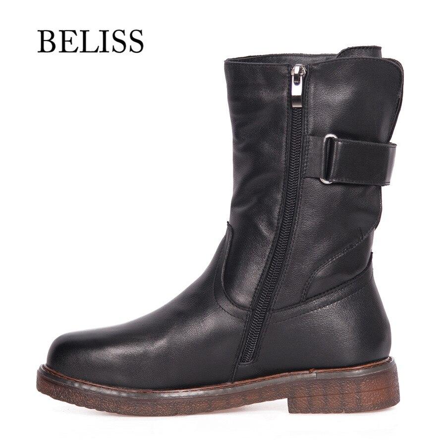 BELISS รองเท้าอุ่นฤดูหนาวกลางลูกวัวหนังวัวแท้ 2018 สบาย boot สำหรับผู้หญิง handmade แฟชั่น B45-ใน รองเท้าบู๊ทครึ่งน่อง จาก รองเท้า บน   2