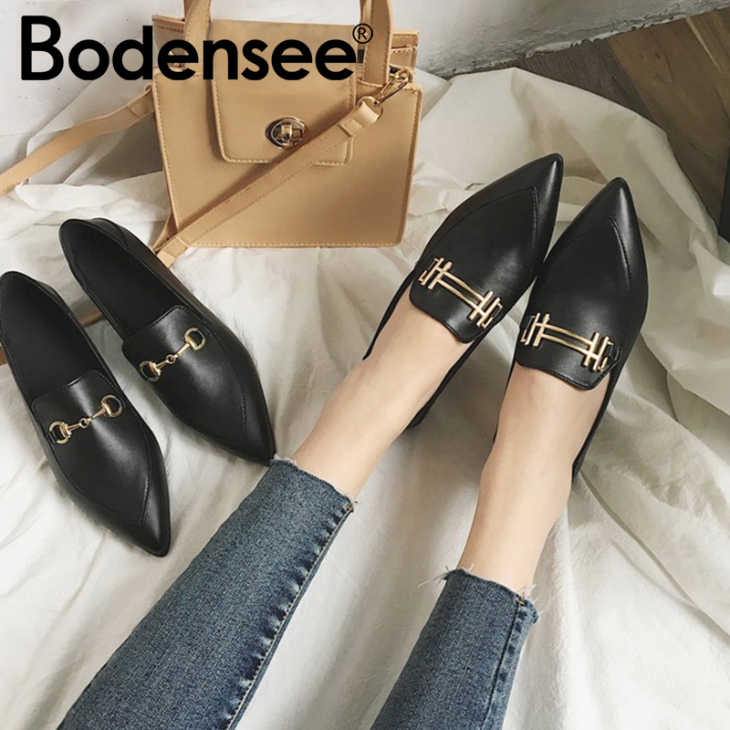 BODENSEE Women Flats PU Leather Woman Single Shoes Ballet Flats Shoes Pointed Toe Flat Shoes Slip-On Shallow Pregnant