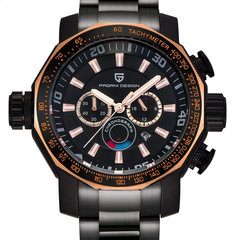 Часы для мужчин Элитный бренд PAGANI Дизайн Спортивные часы погружения Военная Униформа часы все сталь многофункцион