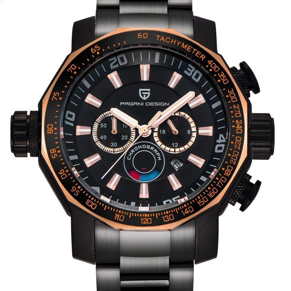 นาฬิกาผู้ชายหรูหรายี่ห้อ PAGANI DESIGN กีฬานาฬิกาดำน้ำทหารนาฬิกาเหล็กทั้งหมด Multifunction นาฬิกาข้อมือควอตซ์ reloj hombre-ใน นาฬิกาควอตซ์ จาก นาฬิกาข้อมือ บน   1