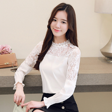 2018 winter  Hollow Out Elegant White Lace shirts women High Quality Women Long Sleeve Casual white lace blouse 668B80D