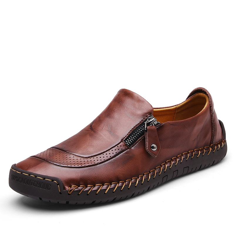 Men Casual Leather Shoes Slip On Breathable PU Leather Loafers Rubber Sole Sewing With Zip Solid