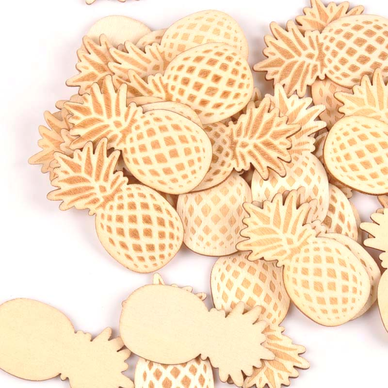 15pcs 24x48mm Pineapple Pattern Wooden Crafts Scrapbook DIY For Wooden Decorations Ornaments Home Handmade Accessories M1745
