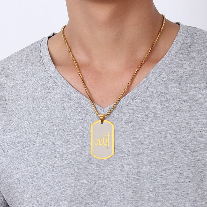 Muslim Islamic God Allah Word Pendant Necklace for Men Women  Short Tag Stainless Steel Jewelry Black Gold Color 24pendant  necklacenecklace for mennecklace necklace