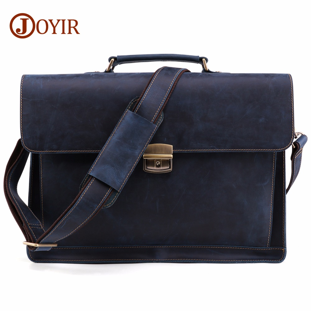 JOYIR Men s Briefcase Vintage Crazy Horse Genuine Leather Bag Men Briefcases Male Shoulder Laptop Bag