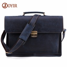 JOYIR Mens Briefcase Vintage Crazy Horse Genuine Leather Bag Men Briefcases Male Shoulder Laptop Office Handbags For Man