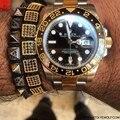 Famous Brand Men Jewelry Gold Micro Pave CZ Pyramid Beads Braiding Macrame Power Charm Bracelet Men Gift Gentle Men Bijoux