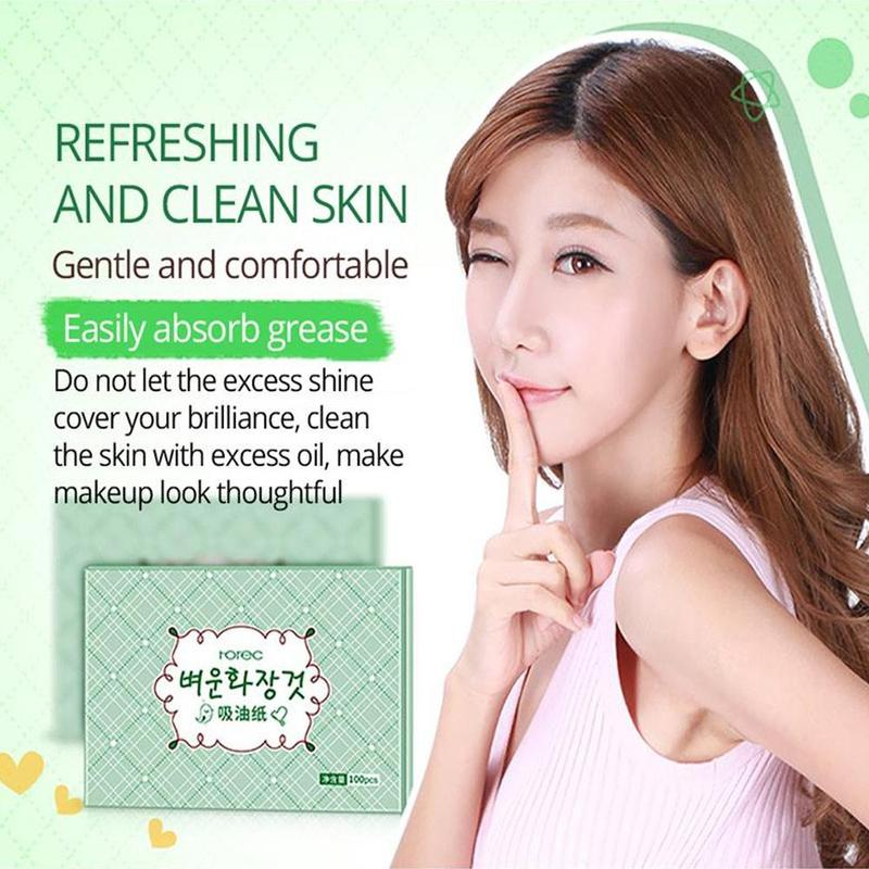 100pcs Face Oil Blotting Paper Green Matting Face Wipes Facial Cleanser Oil Control Shrink Pore Face Cleaning Tool 2