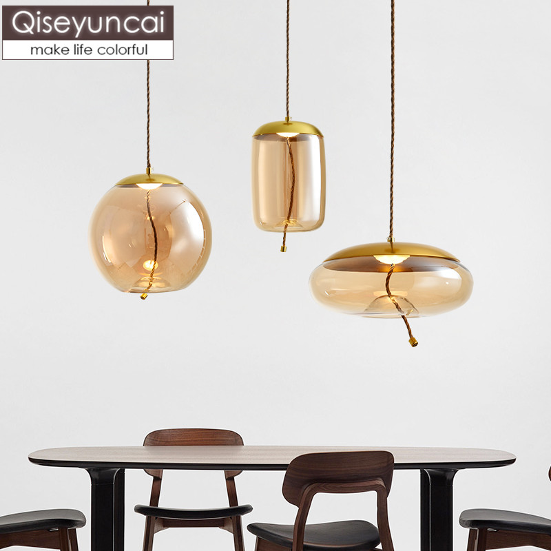 Qiseyuncai Nordic style glass restaurant chandelier simple bar dining room creative corridor aisle single head lighting|Pendant Lights| |  - title=