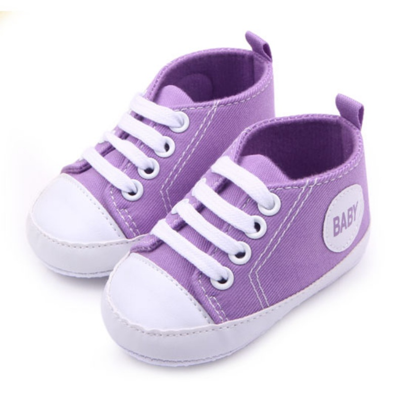 Купить с кэшбэком 12 Colors  Infant 0-12Months Toddler Canvas Sneakers Baby Boy Girl Soft Sole Crib Shoes