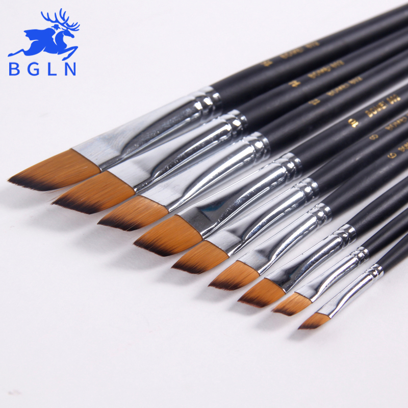 Bgln 9pcs/set Nylon Hair Acrylic Oil Paint Brush Oblique Painting Brush Set For Oil Acrylic Brush Pen Art Supplies 802 solabela montreal artist brush set of 24 w canvas roll up pouch professional art brush set acrylic oil water color paint set