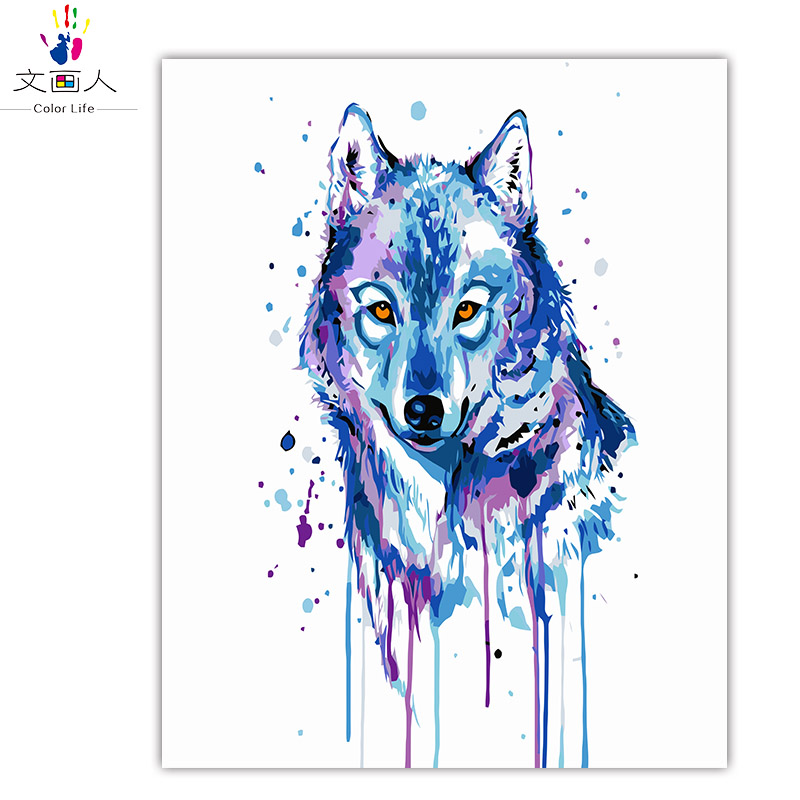 Ink Animal Wolf Drawing Coloring by numbers Wild Nature animals picture painting by numbers On Canvas with package handwork gift