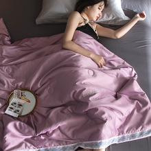 Tencel Summer Quilt Washable Silk Cool Air Conditioning With Thin Core for Home Bedding Soft Blanket