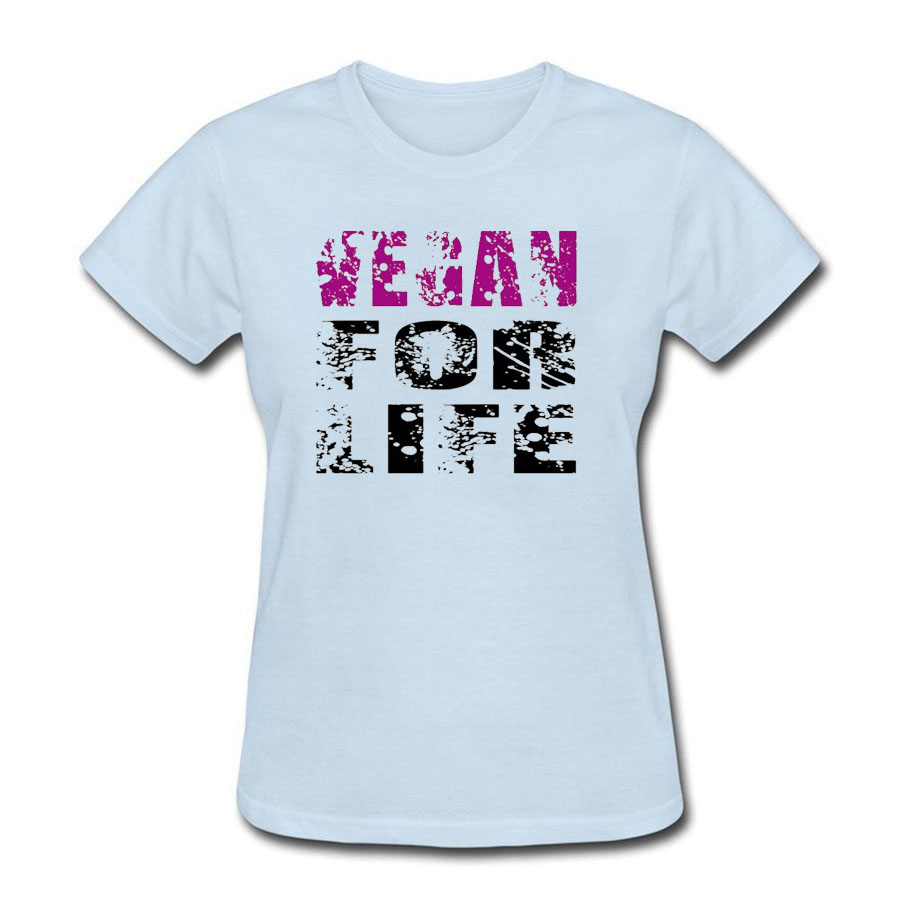 Vegan For Life Print Tee shirt Femme 18 Summer Short Sleeve Loose T-shirt Women Casual Large Size Cotton tshirt women tops 6