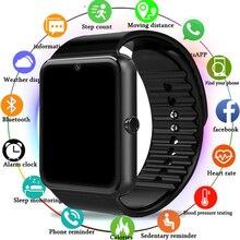 Gt08 sem fio relógio inteligente dos homens com tela de toque grande apoio da bateria tf cartão sim câmera para ios iphone android telefone relógio feminino