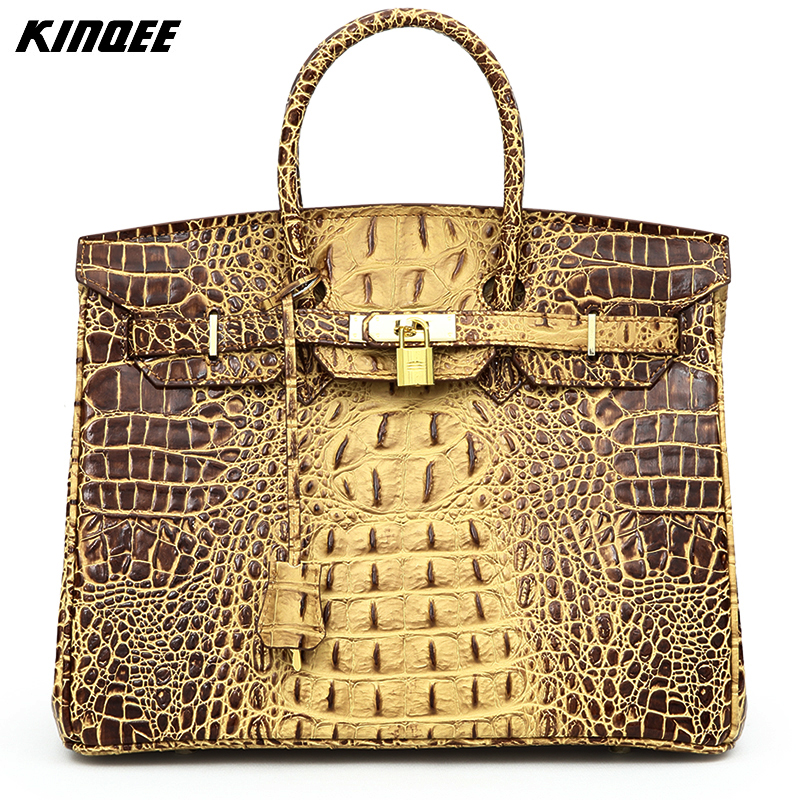 цены Luxury Handbags Women Bags Designer Famous Brands Purses Genuine Leather High Quality 30CM 35CM Crocodile  Alligator Niloticus