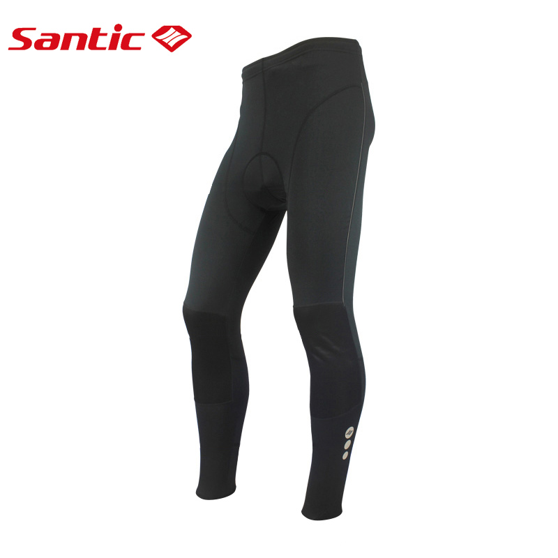 Santic Winter Cycling Pants Men Long Pants Bike Riding Fleece Thermal Cycling Pants Padded Black Knee Windproof Design MC04002